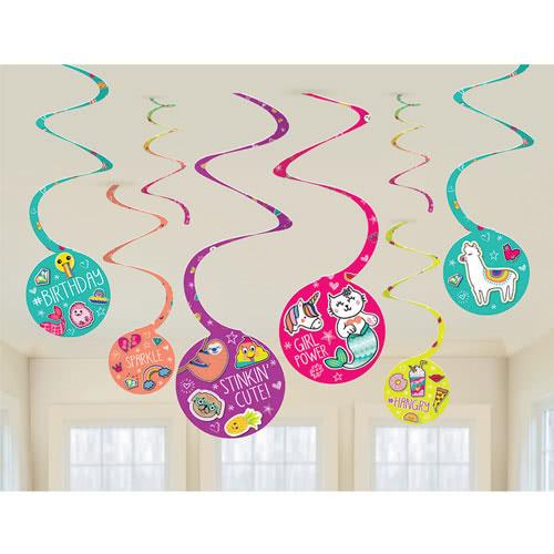 Selfie Celebration Hanging Swirl Decorations - Pack of 8