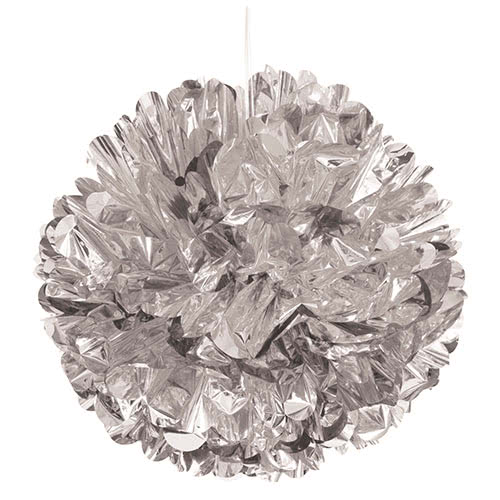 Silver Foil Honeycomb Hanging Decoration Puff Ball 40cm Product Image