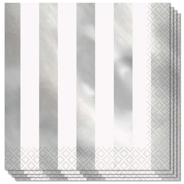 Silver Foil Stripes Luncheon Napkins 2Ply 33cm - Pack of 16