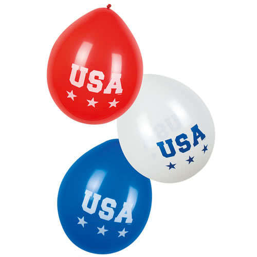 USA Assorted Latex Balloons 25cm - Pack of 6