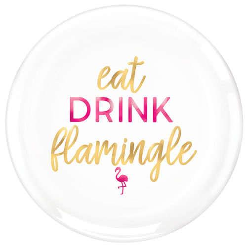 Aloha Summer Foil Hot Stamped Flamingo Round Serving Plastic Platter 35cm