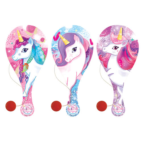 Assorted Unicorn Wooden Paddle Bat With Ball 23cm