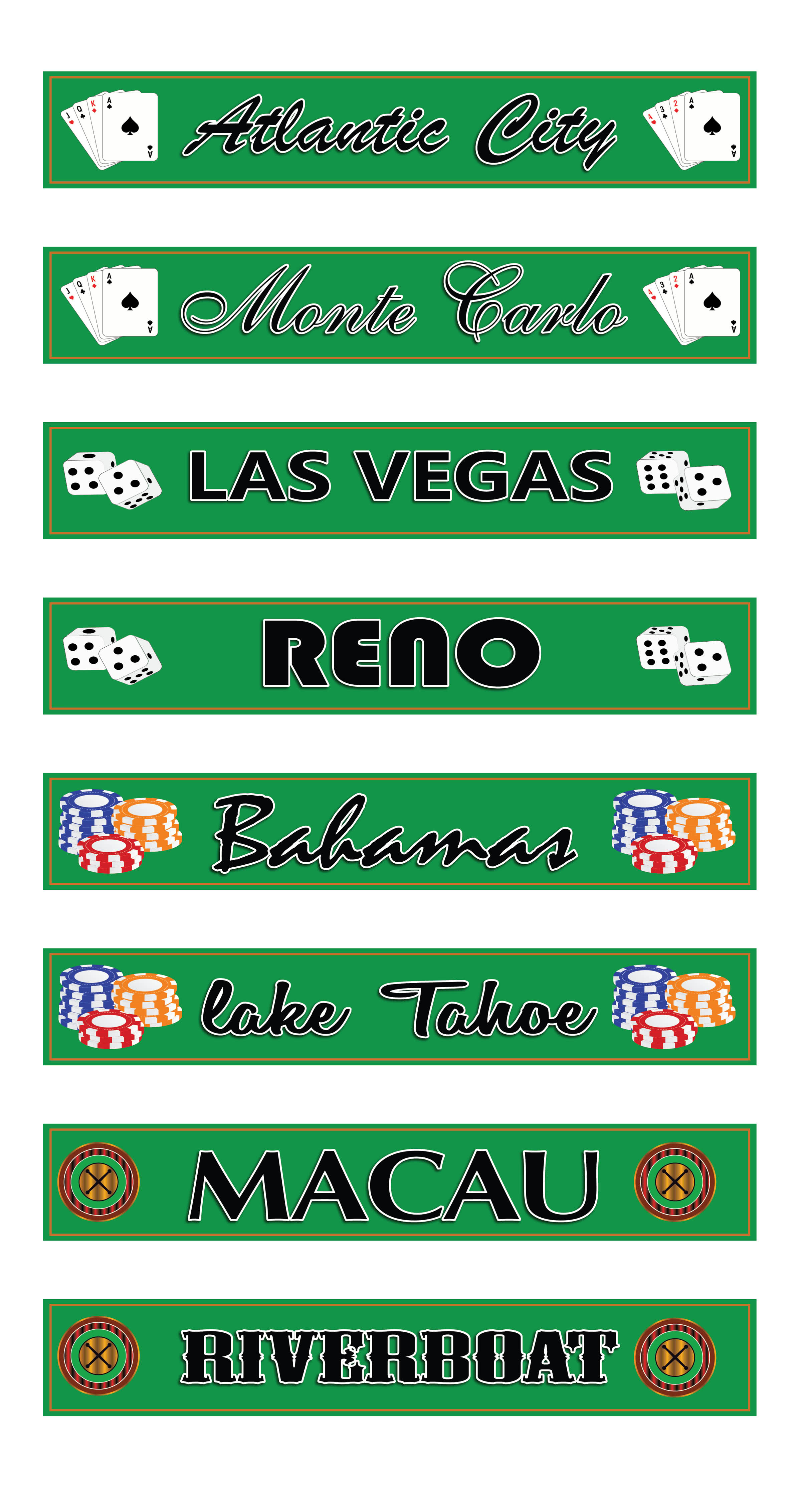 Worldwide Casinos PVC Party Sign Decorations 60cm x 10cm – Pack of 8