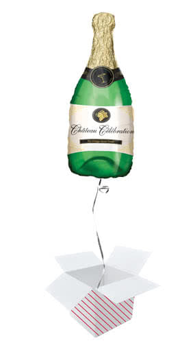 Champagne Bottle Helium Foil Giant Balloon - Inflated Balloon in a Box