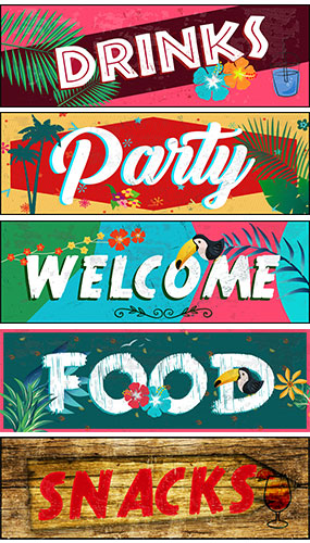 Hawaii Food And Drinks PVC Party Sign Decorations 60cm x 20cm - Pack of 5