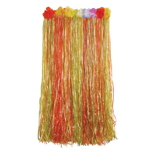 Hawaiian Multi-Colour Hula Long Skirt With Flowers 80cm