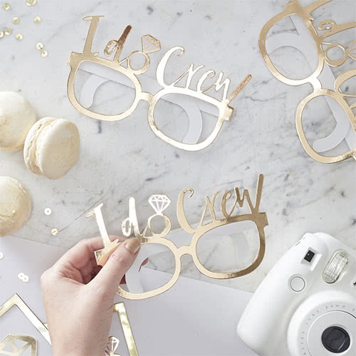 Hen Night 'I Do Crew' Gold Foiled Cardboard Party Glasses - Pack of 8 Gallery Image