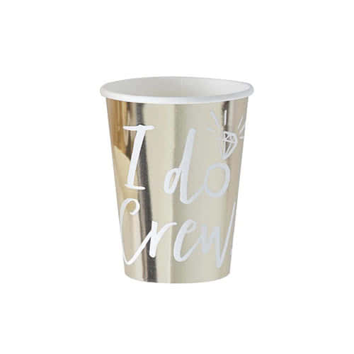 Hen Night 'I Do Crew' Gold Foiled Paper Cups 260ml - Pack of 8 Product Gallery Image