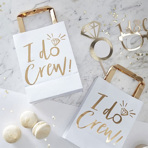 Hen Night 'I Do Crew' Gold Foiled Paper Party Bags - Pack of 5
