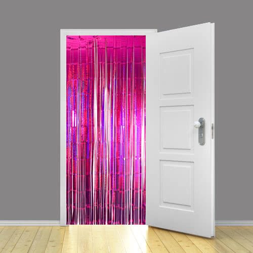 Holographic Hot Pink Metallic Shimmer Curtain 92 x 244cm - Pack of 5 Product Image