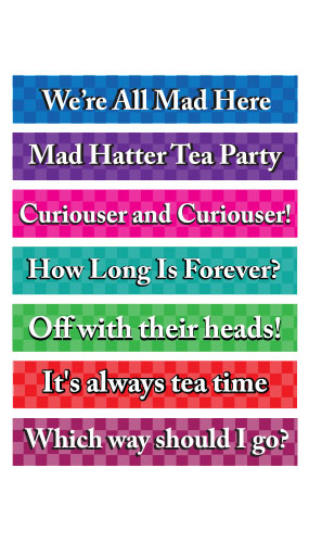 Mad Hatter Tea PVC Party Sign Decorations 60cm x 10cm - Pack of 7
