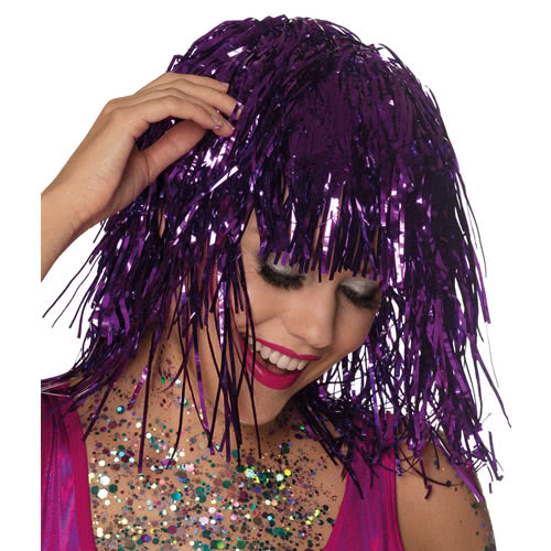 Metallic Purple Tinsel Wig