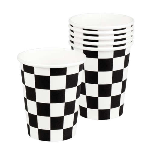Racing Black And White Chequered Paper Cups 250ml - Pack of 6