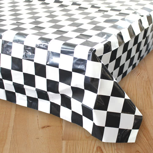 Racing Black And White Chequered Plastic Tablecover 180cm x 130cm