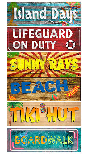 Hawaii Summer Beach PVC Party Sign Decorations 60cm x 20cm - Pack of 6