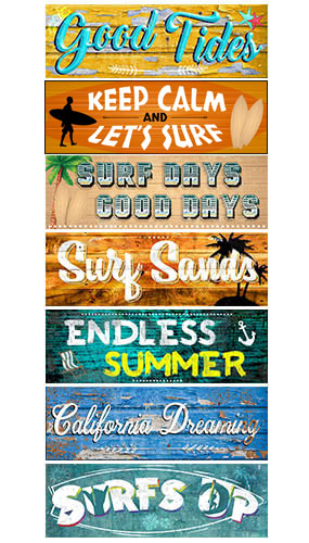 Summer Surf PVC Party Sign Decorations 60cm x 20cm - Pack of 7