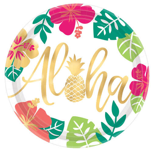 Aloha Summer Round Paper Plates 27cm - Pack of 8