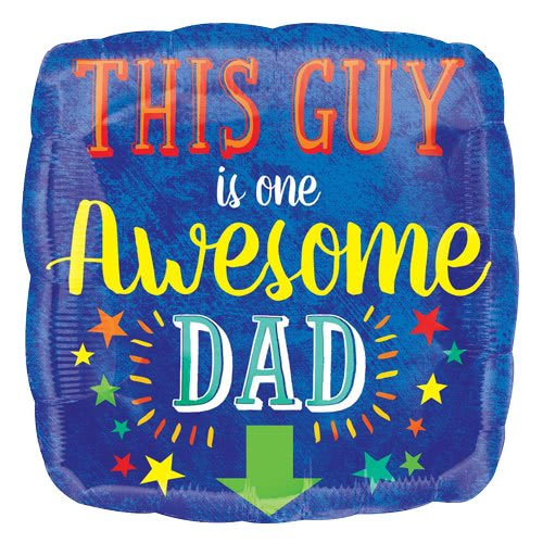 Awesome Dad Square Foil Helium Balloon 43cm / 17Inch