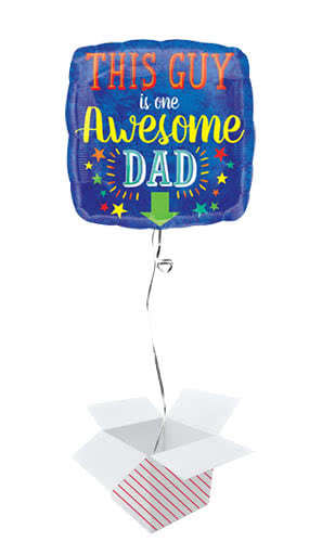 Awesome Dad Square Foil Helium Balloon - Inflated Balloon In a Box