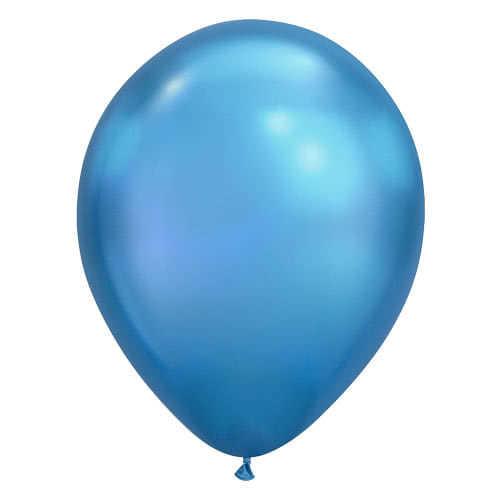 Chrome Blue Latex Helium Qualatex Balloon 28cm / 11Inch