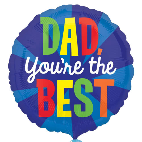 Dad You're The Best Round Foil Helium Balloon 43cm / 17Inch