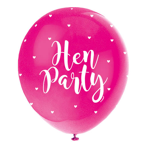 Assorted Hen Party Print Pearlised Biodegradable Latex Helium Balloons 30cm / 12Inch - Pack of 5 Product Gallery Image