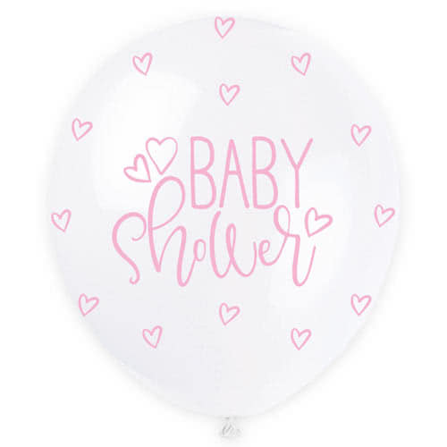 Assorted Pastel Baby Shower Print Pearlised Biodegradable Latex Helium Balloons 30cm / 12Inch - Pack of 5 Product Gallery Image