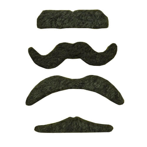 Assorted Designs Fabric Black Moustache Favours - Pack of 4