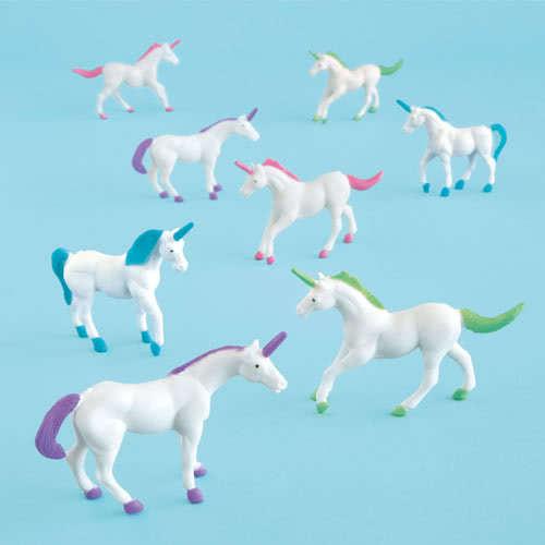 Assorted Plastic Unicorn Figurines - Pack of 8