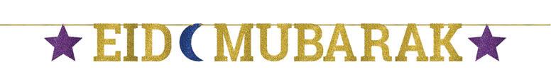 Eid Mubarak Glitter Letter Banner 365cm