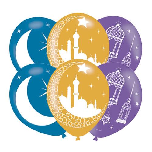 Eid Printed Latex Helium Balloons 27cm / 11Inch - Pack of 6