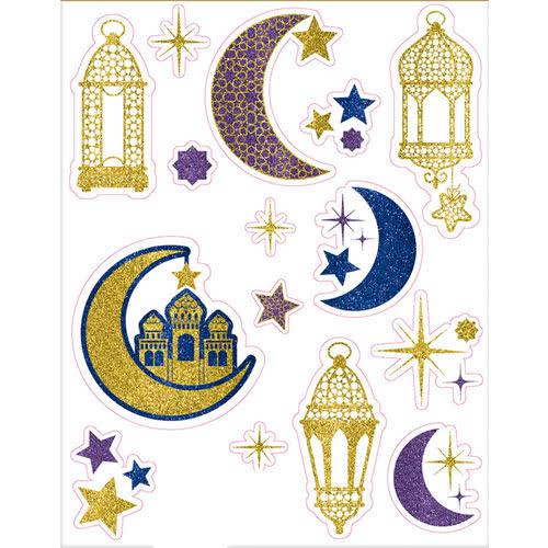 Eid Glitter Window Clings Decorations 43cm