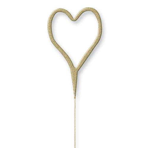 Glitz Gold Heart Shape Non Hand Held Sparkler 17cm