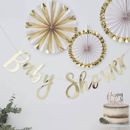 Baby Shower Gold Foiled Cardboard Party Bunting 150cm