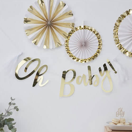 Oh Baby Gold Foiled Cardboard Party Bunting With Tassels 150cm