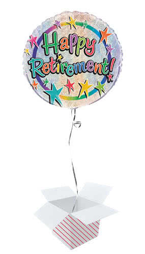 Happy Retirement Holographic Round Foil Helium Balloon - Inflated Balloon in a Box