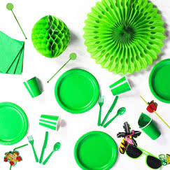 Green plain tableware