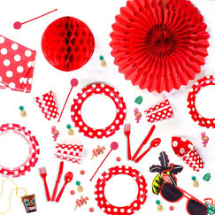 Red Decorative Dots Tableware