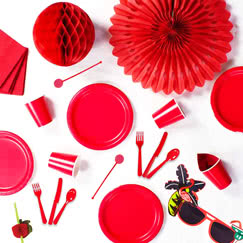 Red plain tableware