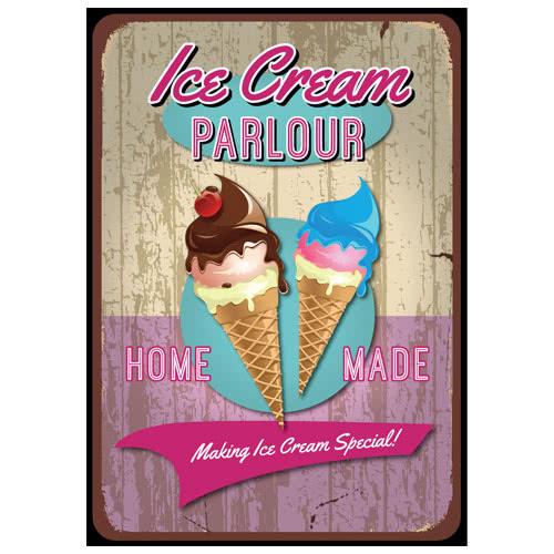 Ice Cream Parlour PVC Party Sign Decoration 25cm x 36cm