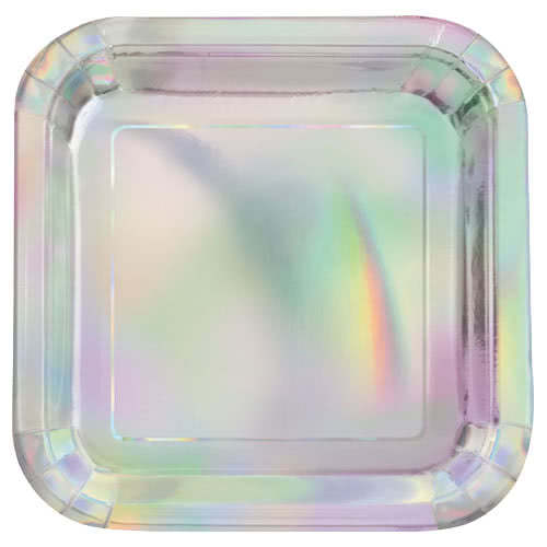 Iridescent Foil Square Paper Plates 22cm - Pack of 8