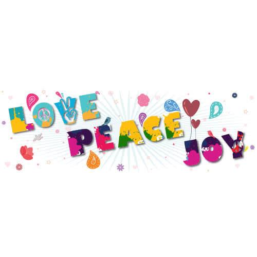 1960s Love Peace Joy PVC Party Sign Decoration 60cm x 20cm