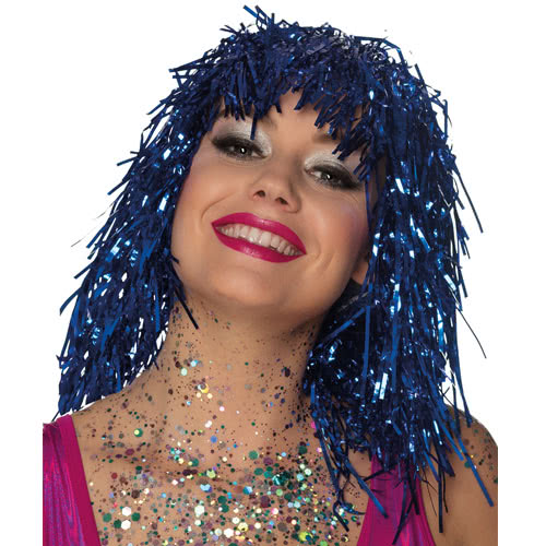 Metallic Blue Tinsel Wig Product Image