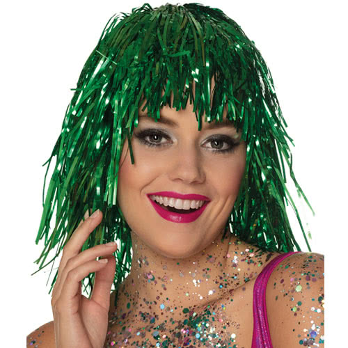 Metallic Green Tinsel Wig