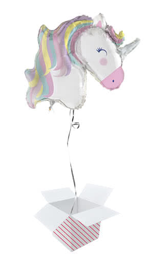Party Time Unicorn Helium Foil Giant Balloon - Inflated Balloon in a Box