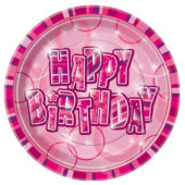 Pink Glitz Round Paper Plate 22cm