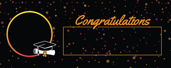 Congratulations Graduation Black With Coloured Dots Design Small Personalised Banner - 4ft x 2ft