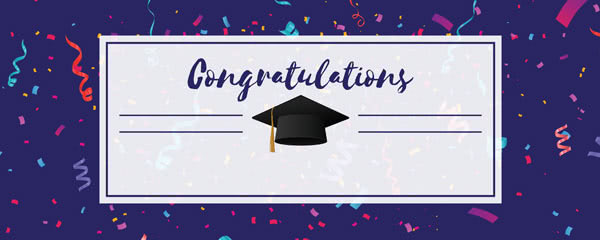 Congratulations Graduation Purple With Confetti Design Small Personalised Banner - 4ft x 2ft