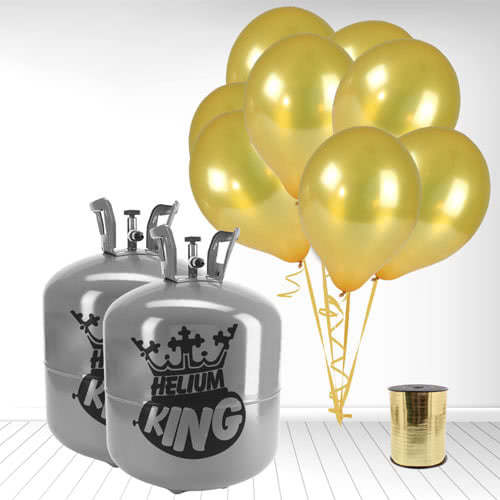 Disposable Helium Gas Cylinders with 100 Metallic Gold Balloons and Curling Ribbon Product Image