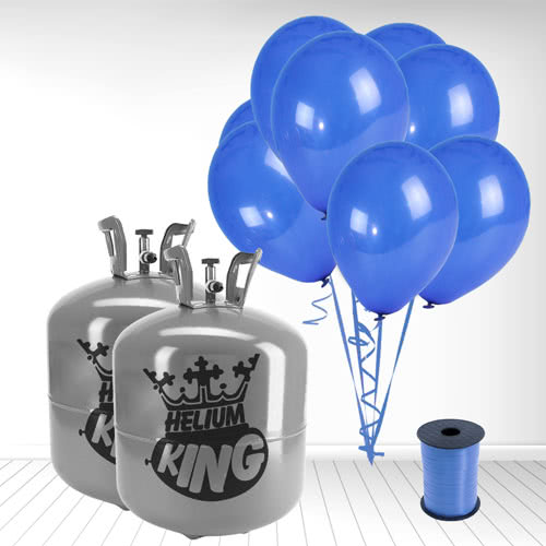 Disposable Helium Gas Cylinders with 100 Navy Blue Balloons and Curling Ribbon Product Image